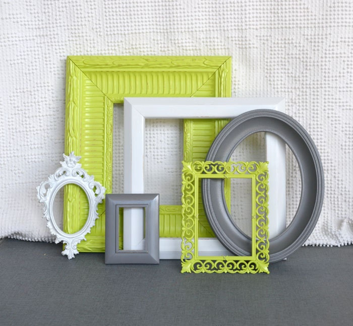 Lime green grey gray white ornate frames set of 6 upcycled for Bathroom decor lime green