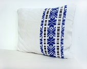 Vintage Traditional Romanian Hand Woven Rustic Pillow Cover 12 x 16 black and blue pattern