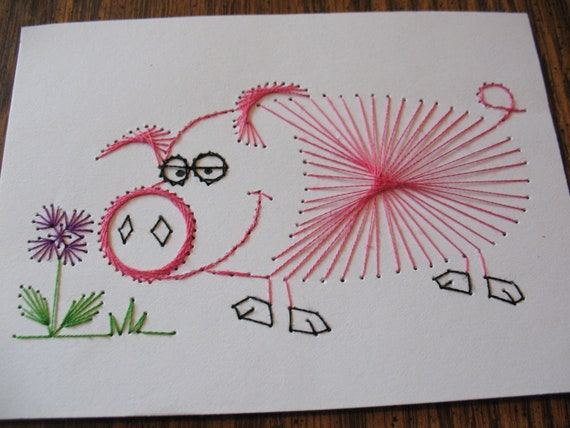 Stitched Pig Card