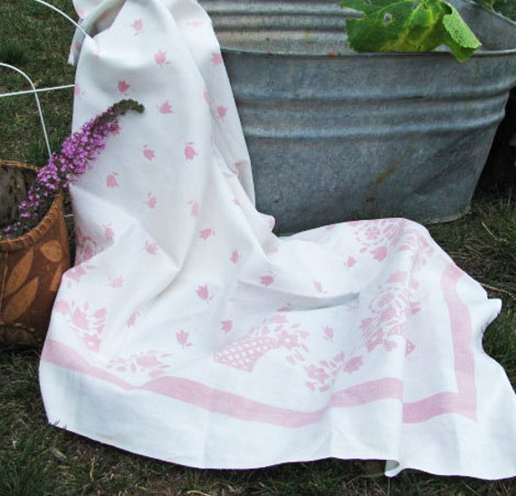 RESERVED Vintage Pink Tablecloth Flowers Baskets // COTTAGE Shabby Chic FARMHOUSE Beach Retro // 1950's