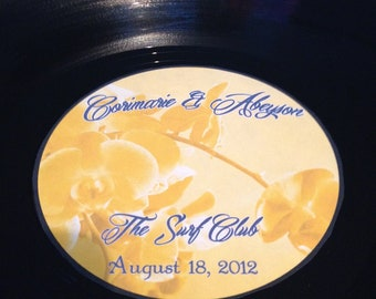 2 LP Vinyl Record Albums with Personalized Center Labels- Wedding Stickers/Labels/Retirement Gift/Party Guestbook
