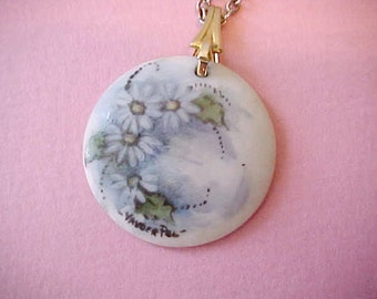 Pretty and Fanciful LIttle Hand Painted Porcelain Pendant on Chain-Daisies on Blue