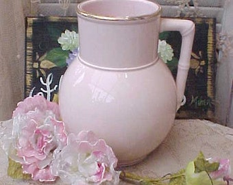 Wonderful Large Victorian German Porcelain Pitcher in the Palest of Pinks