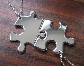 Best Friend Necklaces Two Silver Puzzle Piece Pendants