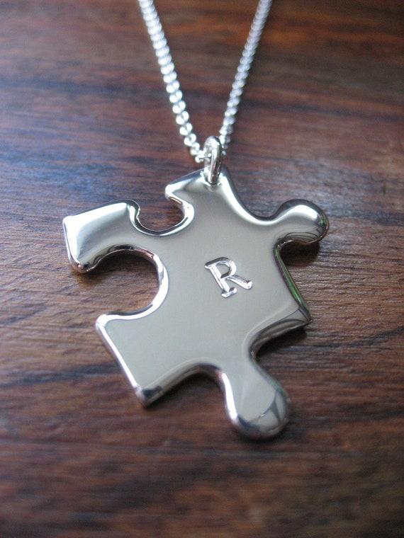 Initial Puzzle Piece Silver Pendant Necklace