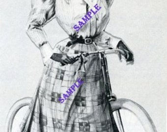 Digital Download-Vintage Illustration Lady Cyclist3