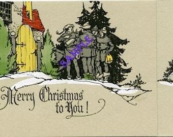 Digital Download-Minstrel Carolers-Vintage Christmas Card