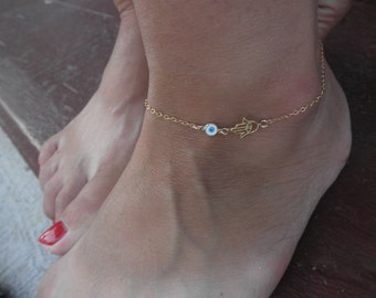 Vermeil Hamsa hand anklet bracelet with evil eye charm on goldfilled  chain