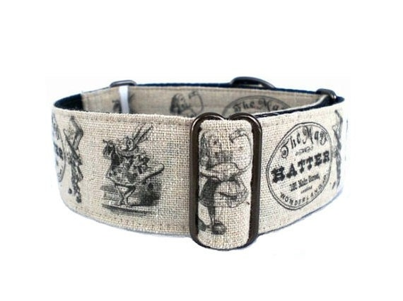 Vintage Alice in Wonderland Dog Collar - 1.5-inch Martingale or Buckle Adjustable Dog Collar