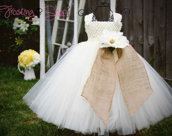 Burlap Tutu Dress- Vintage Wedding- Tulle color and flowers can be customized