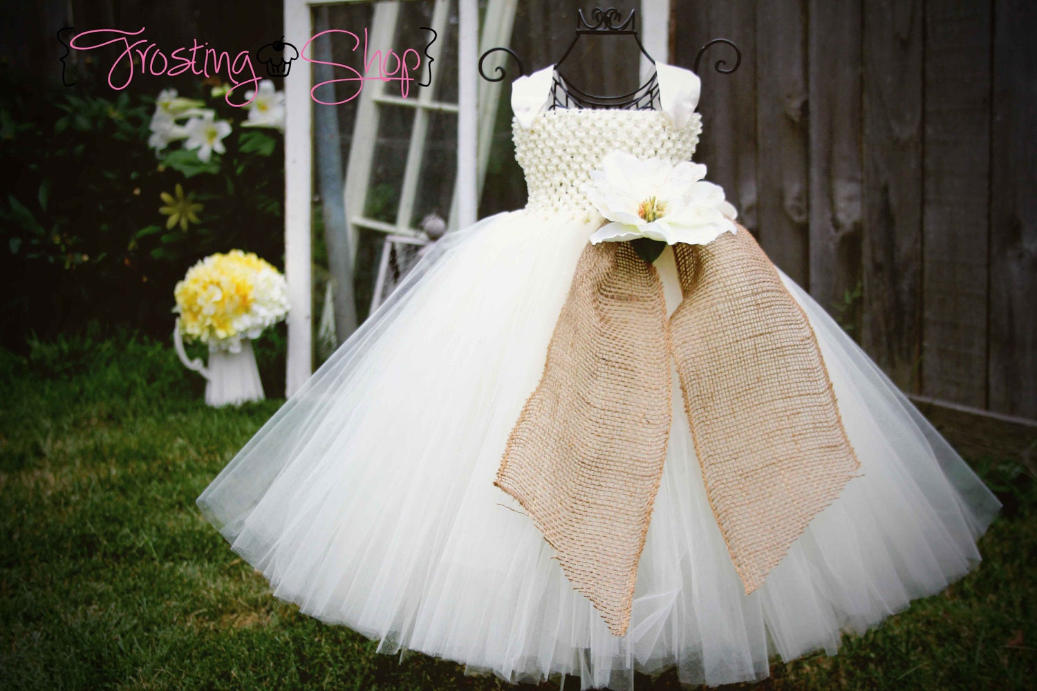 Burlap Tutu Dress Vintage Wedding Tulle color and flowers