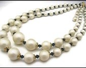 Necklace, Beaded with White Faux Pearls and Blue Crystals, Double Stranded, Graduated.