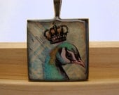 Resin Pendant, Peacock, Bird, Teal, Black, White, Square, 1 inch, For Her, Necklace