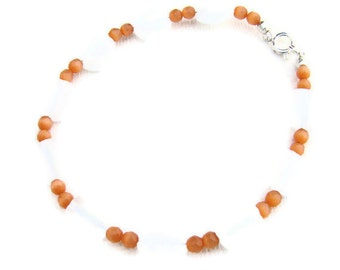 Jewelry Set, Bracelet with Matching Earrings in Orange and White, Fiber Optic, For Her