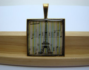 Resin Pendant, Eiffel Tower, Yellow, Blue, White, Black, For Her, 1 inch, Square