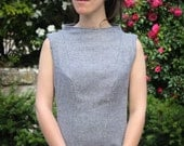 Grey Tweed Wool Fitted Dress - Princess Seam and Funnel Neck - Small Size