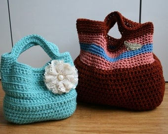 Crochet Pattern, Crochet bag pattern, vintage tote bag pattern market tote handbags patterns (41) two bags pattern INSTANT DOWNLOAD