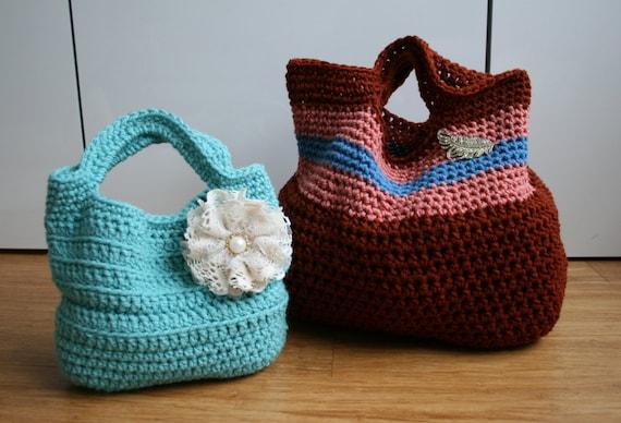 Crochet Duffle Bag Pattern : Crochet Pattern, Crochet bag pattern, vintage tote bag pattern market ...