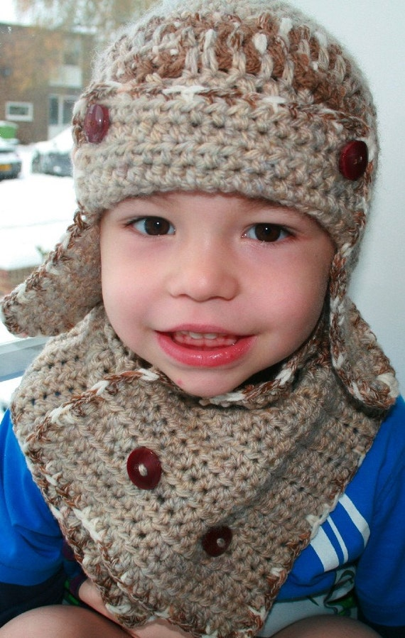 Crochet Newborn Aviator Hat Pattern : Crochet pattern baby aviator hat pattern with scarf by ...