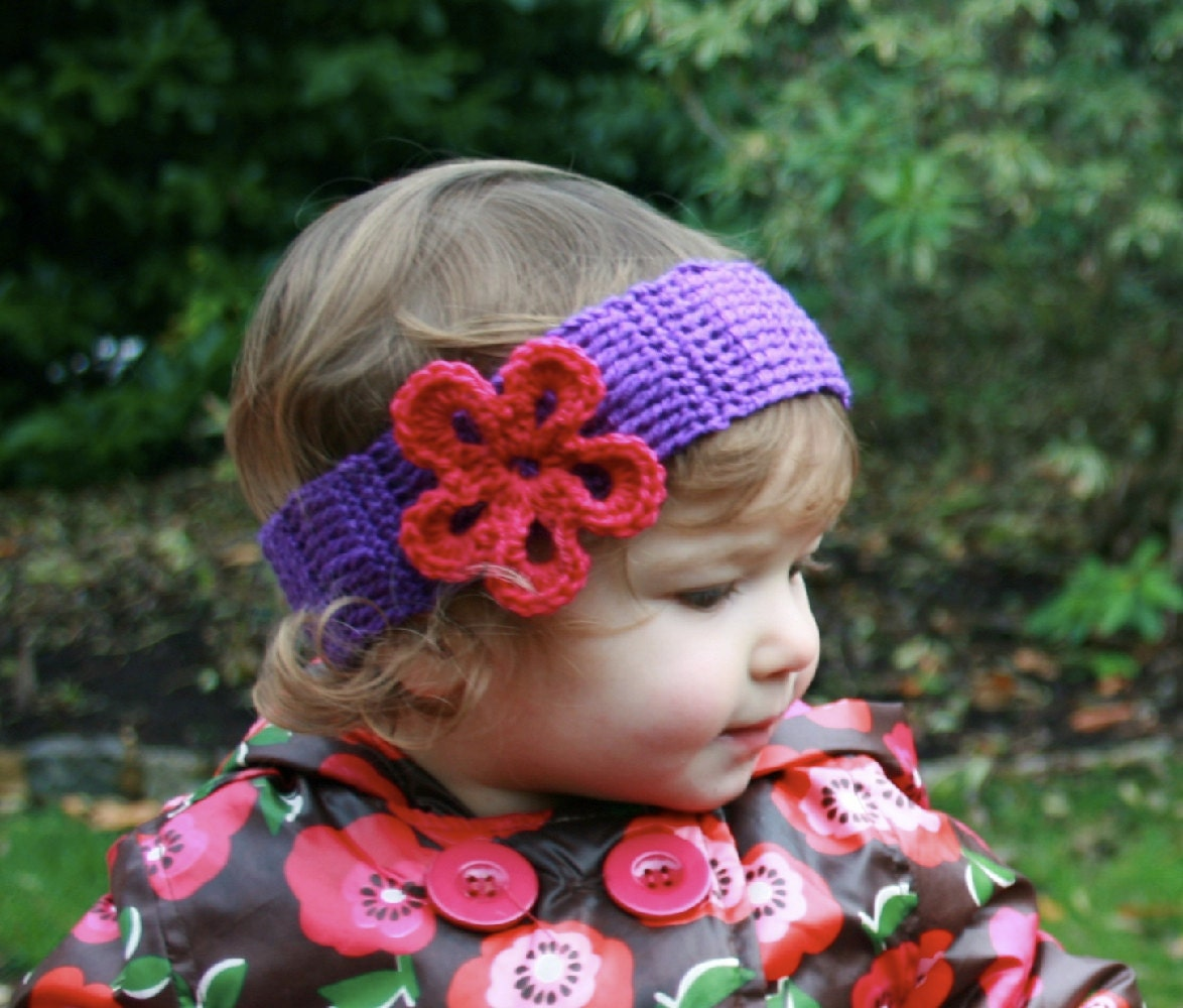 Crochet Headband Pattern For Baby With Flower : CROCHET PATTERN baby flower headband pattern crochet headband