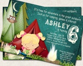 Camping Birthday Party Invitation, campout, s'mores, owl, sleepover (Digital File), you print