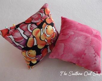 Clown fish print with pink batik backing pin cushion