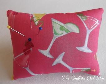Pink martini print pin cushion