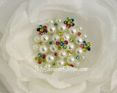 Vintage Style Metal Buttons - Pearl Cluster Button - Rainbow stones - 20mm - set of 5