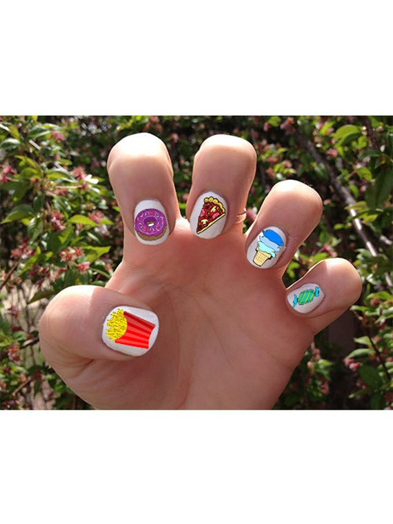 Junk Food // Summer // Nail Decals Transfer Nail Stickers