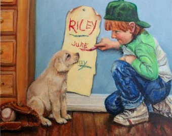 """Original Oil Painting: little boy measuring his puppy's growth """"Measuring Riley"""""""