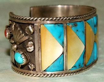 OLD PAWN ZUNI Inlay Cuff Sterling 3oz Signed c1960