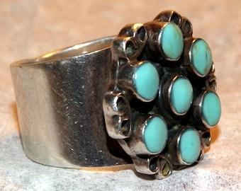 SNAKE-EYE ZUNI Ring Turquoise Sterling c1950