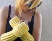 Yellow   fingerless gloves, arm warmers, texting gloves, crochet gloves, wrist warmers, hand warmers, mittens, women's gloves, winter gloves