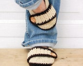 Neutral browns crochet slippers, crochet slippers, womens slippers, womens crochet slippers, winter slippers, button slippers, crochet socks