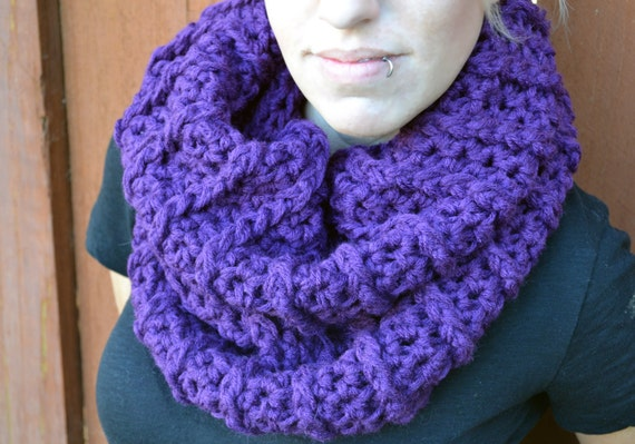 Purple ribbed crocheted winter scarf cowl neck by ValkinThreads