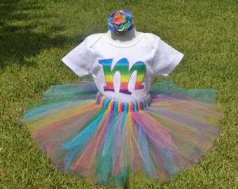 PINK RAINBOW Initial shirt or onesie, tutu and hair bow set