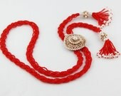 Lariat Style Red Glass Plaited Bead Vintage Medallion Necklace