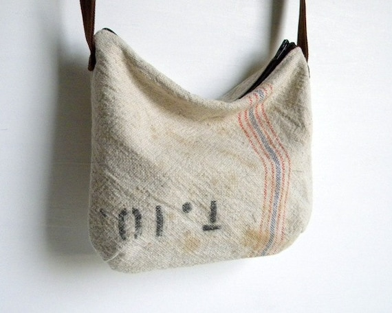 Recycled Grain Sack Small Cross Body Purse