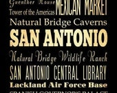 San Antonio, Texas, Typography Art Poster / Bus/ Transit / Subway Roll Art 18X24 - San Antonio's Attractions Wall Art Decoration -  LHA-193