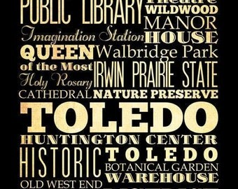Toledo, Ohio, Typography Art Poster / Bus  / Transit / Subway Roll Art 18X24 - Toledo's Attractions Wall Art Decoration -  LHA-221