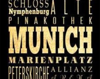 Munich, Germany, Typography Art Poster / Bus/ Transit / Subway Roll Art 18X24-Munich's Attractions WallArtDecoration-LHA-273