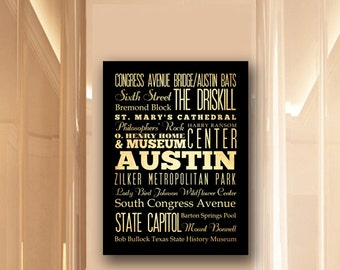 Large Typography Art Canvas of Austin, Texas - Subway Roll Art 24X30 - Austin's Attractions Wall Art Decoration -  LHA-166