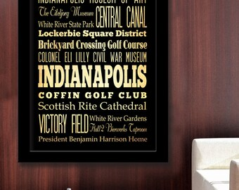 Gigantic Typography Art Poster of Indianapolis, Indiana - Subway Roll Art 40X55 - Indianapolis' Attractions Wall Art Decoration -  LHA-186