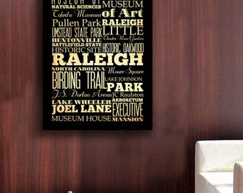 Raleigh, North Carolina, Big Typography Art Canvas - Subway Roll Art 30X40 - Raleigh's Attractions Wall Art Decoration -  LHA-217