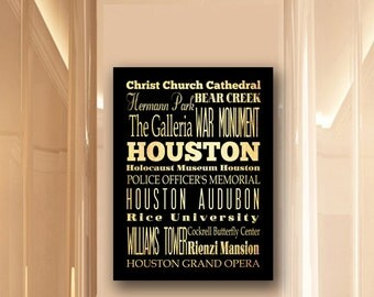 Large Typography Art Canvas of Houston, Texas - Subway Roll Art 24X30 - Houston's Attractions Wall Art Decoration -  LHA-185