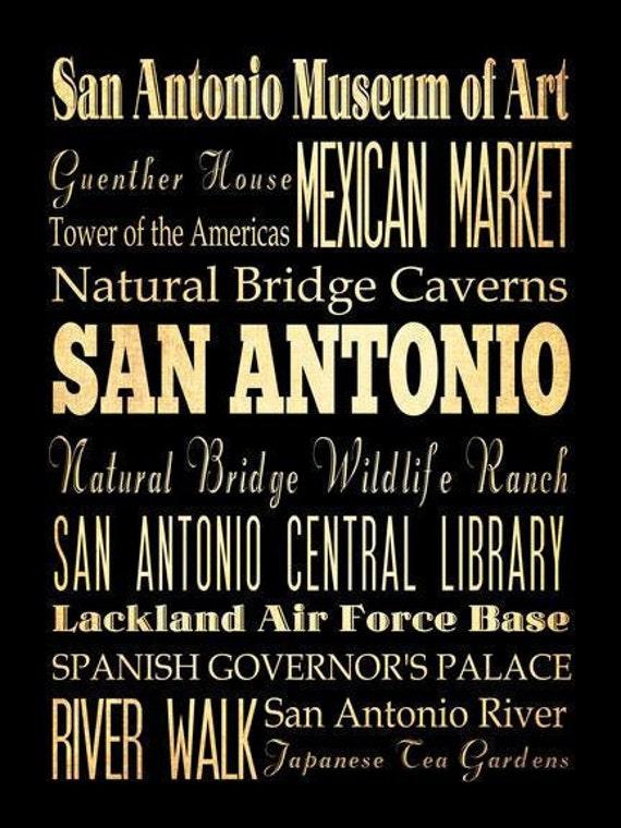 San Antonio, Texas, Typography Art Poster / Bus/ Transit / Subway Roll Art 18X24 - San Antonio's Attractions Wall Art Decoration -  LHA-193