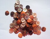 100 shell (mother of pearl) buttons, peach, natural 15mm, orange