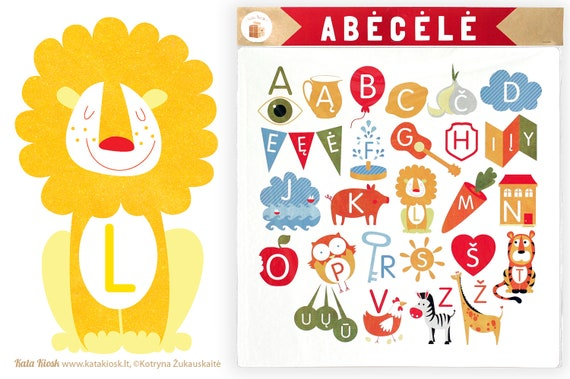 Lithuanian illustrated ABC hard card poster for Nursery Decor