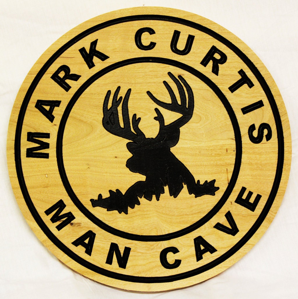 Large Personalized Man Cave Signs : Large diameter custom man cave sign deeply carved