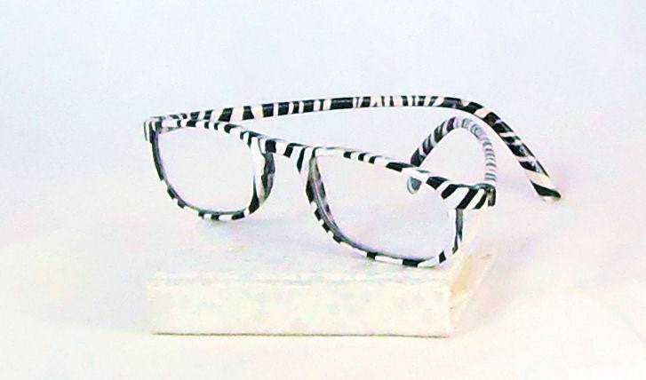 Zebra Handpainted Reading Glasses. Black and White by ...